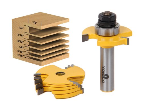 Yonico 14700 Slot Cutter 3 Wing Router Bit Set with 1/2-Inch and 1/4-Inch Shank 1/2-Inch Shank, 6-Piece