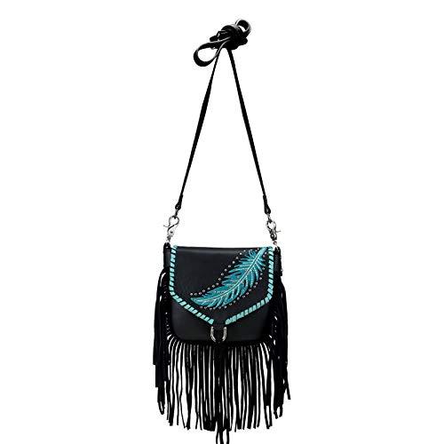 Handtasche Schultertasche Westerntasche Montana West Leder mit Fransen, Feder u. Nieten (Schwarz)