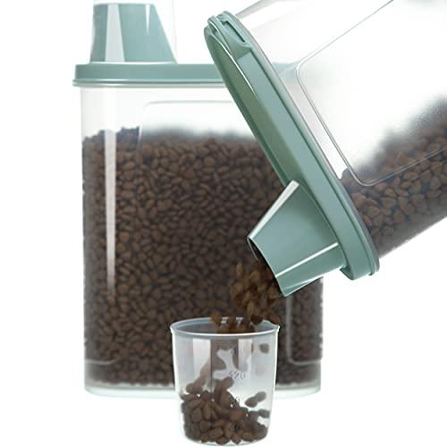 Citylife Pack de 2 recipientes herméticos para comida de perros, recipientes de almacenamiento impermeables para comida de gatos con vaso medidor, contenedor de comida para perros, gatos y pájaros