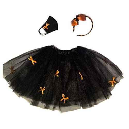 Halloween Bambina - Completo per costume Streghetta composto da gonna tutù, cerchietto per capelli e mascherina protettiva - 100% Made in Italy