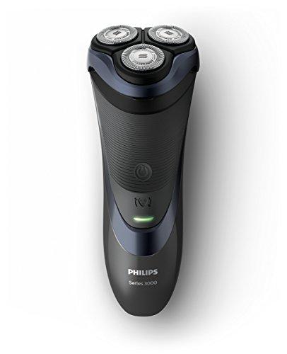 Philips S3530/06 Rasoio Elettrico per rasatura a secco, Serie 3000, Lame ComfortCut, Testina Flessibile a 4 Direzioni, fino a 50 Minuti di Uso senza Filo, Nero/Blu