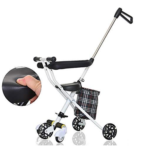 Bébé GUO@ 5-Wheeled Baby Artifact Trolley pour Enfants Tricycle pour Enfants 2-3-5 Ans Portable Pliable Porte PréVention du Renversement Poussette