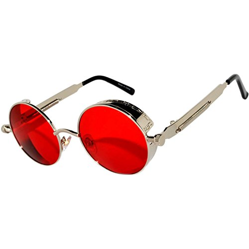 Steampunk Retro Gothic Vintage Hippie Silver Metal Round Circle Frame Sunglasses Sea Red Lens OWL