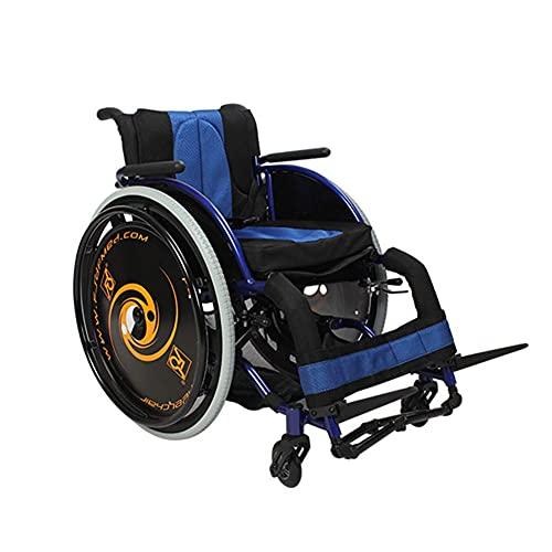 YIQIFEI Silla de Ruedas autopropulsada Deportiva Plegable Silla de Ruedas Deportiva de Ocio Ultraligera Apta para discapacitados, Asiento de 36/38/41 cm (Silla)