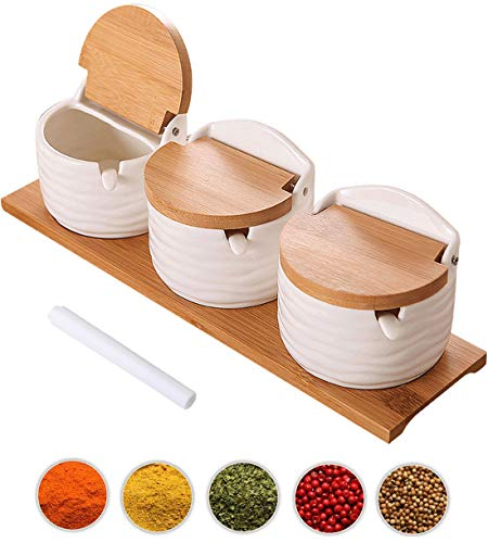 Lawei 3 pack Ceramic Sugar Bowls Set - 9 oz Porcelain Condiment Jar Spice Container with Spoons and Lids for Home and Kitchen