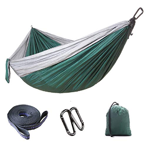 TRIWONDER Camping Hammock - Lightweight Portable Travel Hammock, Single Double Parachute Hammock with Straps and Carabiners for Camping, Backpacking, Travel, Beach (Grey & Dark Green, 300 x 200 cm)