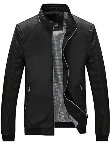 Tanming Men's Color Block Slim Casual Jacket (X-Large, Black)