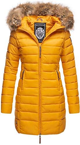 MARIKOO Damen Winter Übergangs Jacke Winterjacke Stepp Mantel gesteppt B647 [B647-Rosen-Gelb-Gr.XL]