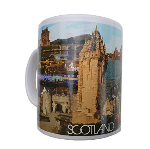 Scotland Mug – per visitatori di Edimburgo, Stirling, Fort William, Hebrides – Piper, Highland Battle, Loch Ness Monster, Forth Bridge – per caffè americano/tè/cioccolata calda/souvenir scozzese