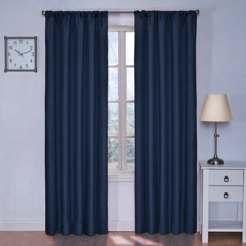 ECLIPSE Blackout Curtains for Bedroom - Kendall Insulated Darkening Single Panel Rod Pocket Window Treatment Living Room, 42' x 84', Denim