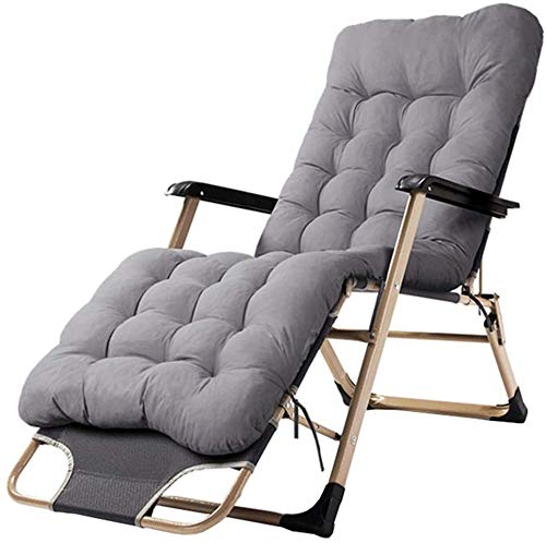 ZZX Relaxliege Garten Patio Lounge Liegen Gartenstühle Klappstühle im Freien Verstellbar Sonnenliege Liegestühle mit abnehmbarem Kissen für Strand Poolseite Camping Hof, 150kg Kapazität,Gray