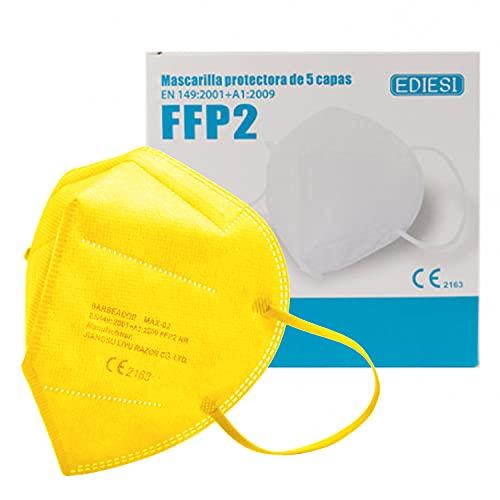 EDIESI Mascarilla FFP2 Homologada 5 capas Protección Respiratoria pack 10 unidades Amarillo...