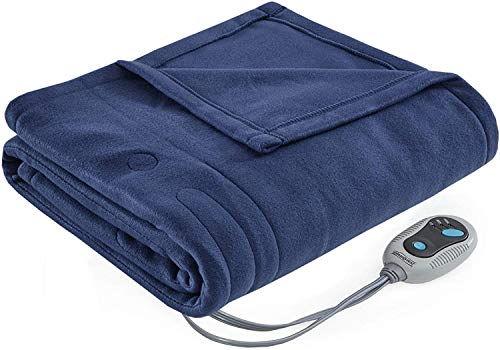 Beautyrest Fleece Electric Blanket Heated Throw Wrap Super Soft Hypoallergenic with Auto Shutoff-3-Setting Controller, 50x60, Navy