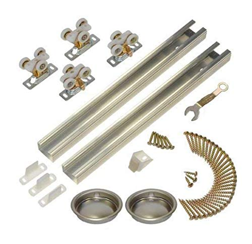 Johnson Hardware 111SD 96 in. 2-Door Heavy Duty Bypass Track/Hardware Set for 3/4 in. Or Thicker Doors to 150 lbs.