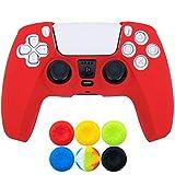 9CDeer 1 x Silicona Protector Cubrir Piel + 6 Apretones de Pulgar para Playstation 5 / PS5 / Dualsense Mando rojo