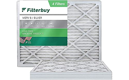 FilterBuy 16x20x1, Pleated HVAC AC Furnace Air Filter, MERV 8, AFB Silver, 4-Pack