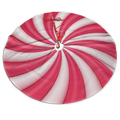 Christmas Lollipop Candy Cane Sugar Red and White Cute Funny Pink Themed 30 36 48 Inch Big Christmas Plush Tree Skirt Carpet Mat Rugs Cover Large Round Pad Classic Xmas Party Ornament Decoration
