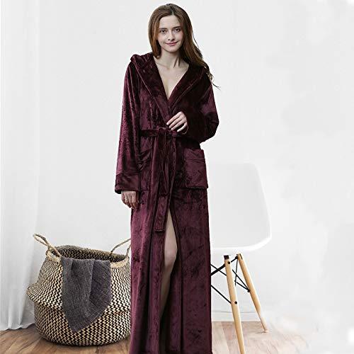 Flanell Bademantel Robe Herren europäischen und amerikanischen Herbst und Winter Mode Kapuzenjacke Verdickung Lange Hausdienst Paar Pyjamas M