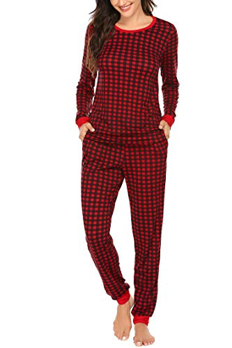 Ekouaer Pjs Set Women's Long Sleeve Sleepwear Tops with Trousers Classic Plaid Pajama Set Pattern2 L