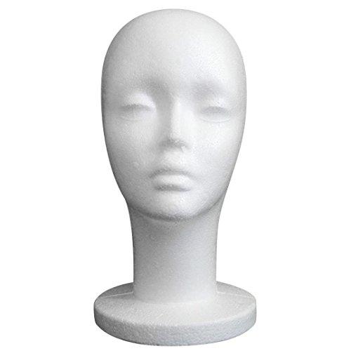 Tefamore Cabeza Modelo Mujer Mango Estilete Maniquí Peluca Espuma Peluquería Pantallas (A)