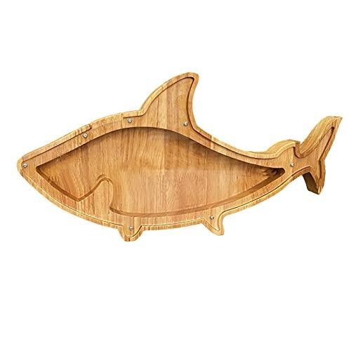 Hucha de madera con grabado de peces/pájaros/cerditos/león/oso/gato/ballena/zorro/elk/motocicleta/geckosaurus/tiranosaurio caja de...