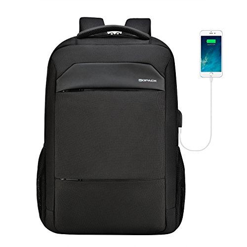 KOPACK Laptop Rucksack 17 Zoll Herren mit USB Anschluss Slim Business Backpack Wasserdicht Uni Studenten Schulrucksack für Schule Arbeit Uni Reisen Camping Schwarz