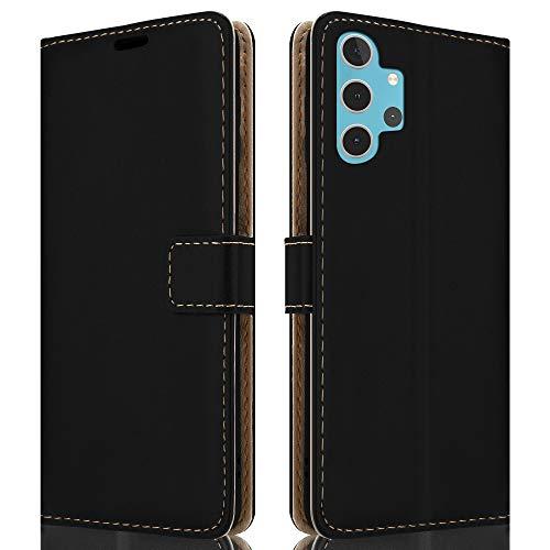 HSP Schwarze Handyhülle kompatibel mit Samsung Galaxy A32 5G | Premium Leder PU (Kunstleder) Hülle | Flip Hülle Klapphülle | Geeignet für induktives Laden | Passexakte Schutzhülle