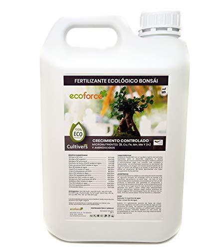 CULTIVERS Fertilizante Ecológico para Bonsái 5 L Líquido con Micronutrientes y Aminoácidos. Abono 100% Orgánico y Natural. Favorece el Desarrollo y el Crecimiento controlado (5 L) (ECO10F00221)