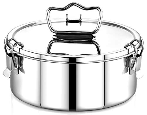 EasyShopForEveryone Stainless Steel Flan Mold, Ergonomic Handle for Safe and Easy Lifting, Pressure Cooker Accessories 6qt Compatible with Instant Pot 6,8 Qt, Ninja Foodi, Round Cake Pan - MEDIUM