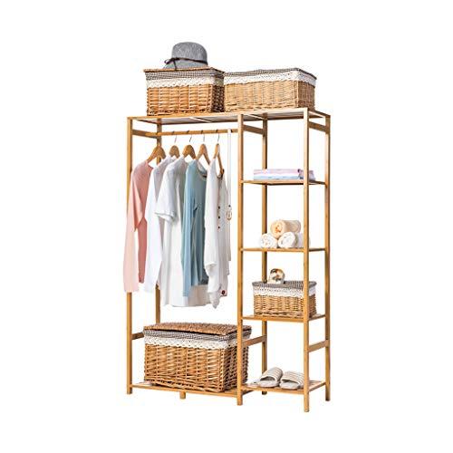 Râteliers multi-usages Porte-Manteau Simple Plancher de Bois Massif Salon Chambre Porte-vêtements Rack de Stockage Casiers (Color : Beige, Size : 90 * 30 * 145cm)