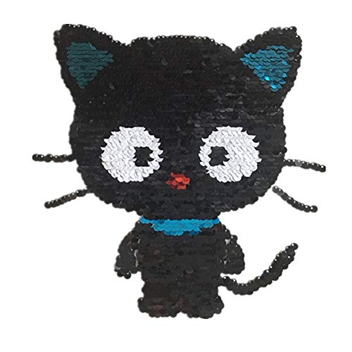 Haodou Tela de Lentejuelas Negro Grande Gato de Hierro En Parche Ropa Costura Decorativos Pegatinas Pluma Personalizada Tabla Cuentas de Parches Size 21 * 18cm