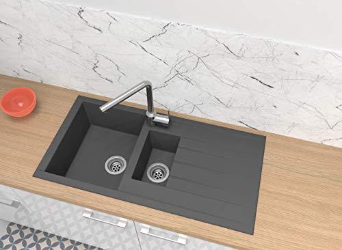 respekta HOUSTON100X50G Spüle, 60% Verbundmaterial aus Mineralstoffen und Glasfasern, 40% Kunstharz, Betongrau, 100 x 50 cm