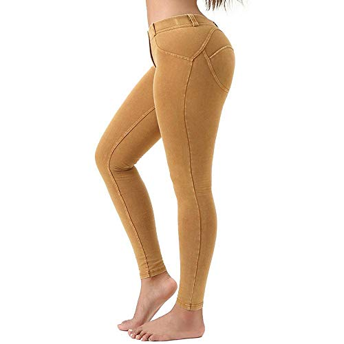 HNZQC Leggings Dames Sexy Nieuwe Gekleurde Lage Taille Butt Scrunch Push-Up Legging Skinny-Fit Jeans Stretch Hoog Getailleerde Jeggings
