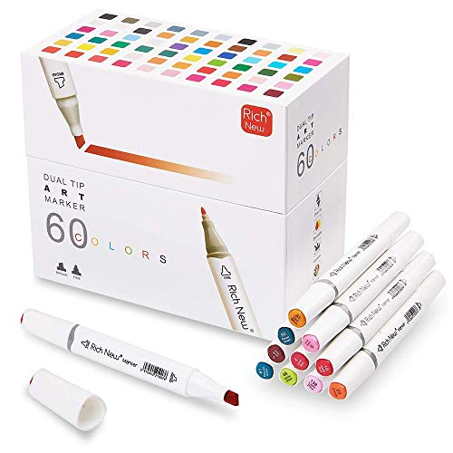(40% OFF Coupon) 60 Permanent Art Markers Dual Tips $17.99