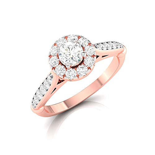 0.40 Ct SGL Certified Diamond Halo Ring, Women Statement Solitaire Promise Ring, HI-SI Color Clarity Diamond Bridal Ring, Classic Wedding Gold Ring, 14K Rose Gold, Size:UK G1/2