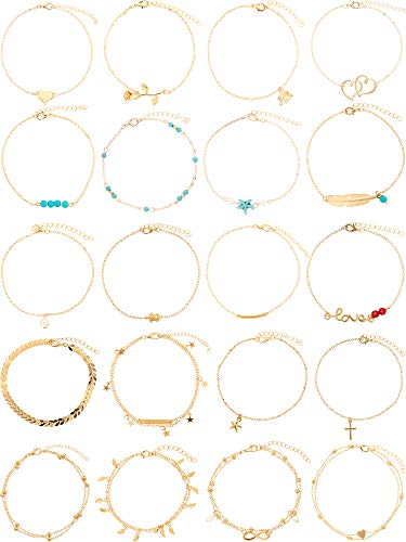 20 Pieces Ankle Bracelet Foot Chain Adjustable Barefoot Beach Anklet Bohemian Alloy Foot Chain Set for Women Girls Favor (Gold)