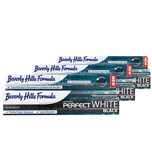 3 Pack - Beverly Hills Formula - Perfect White - Black - Tooth Whitening Toothpaste with Activated Charcoal - 125ml