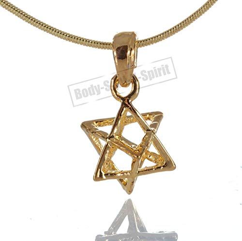 Vergoldete Merkaba Jüdischer Stern von David Glücksbringer Halskette MERKABAH Anhänger Judaica MERKAVA Kabbala