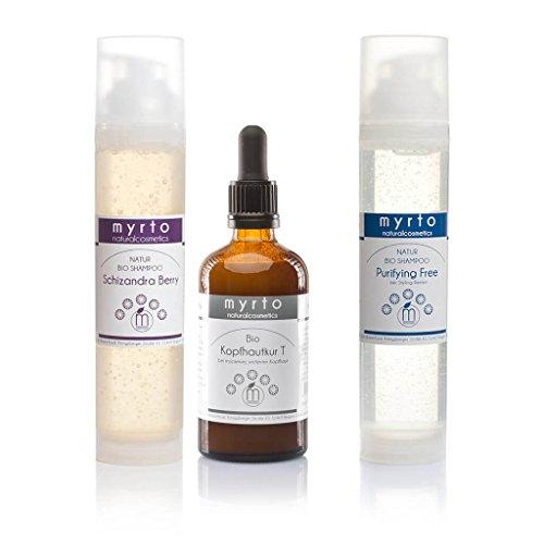 myrto – Bio Haarpflege-Set gegen trockene Schuppen + juckende Kopfhaut | Haar-Serum plus Natur-Shampoo für gesunde Kopfhaut ohne Alkohol und Konservierungsstoffe