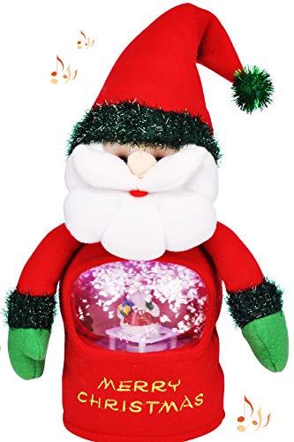 KAMACA - Figura de Navidad con luz LED, cerámica, Papá Noel con Bola de Nieve, 16 x 13 cm