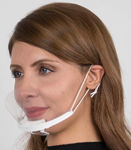 m®Mayda Visier Mundschutz Gesichtsschutz Face Shield - 5 stück Plastik Gesichtsschild für Restaurant Hotel Kellner Chefkoch Schönheitssalons - Durchsichtige Gesichtsvisier (5X Halter+10 Visiere)