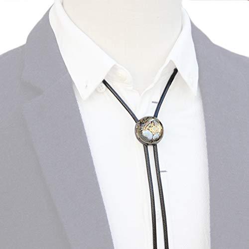 NICEWL Western Bolo Krawatte Für Männer,Cowboy Shirt Bola Krawatte Verstellbare Leder Seil Halskette,Steam Mechanische Punk Stil Krawatte Kostüm Zubehör