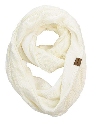 C.C Women's Winter Cable Knit Sherpa Lined Warm Infinity Pullover Scarf, Ivory