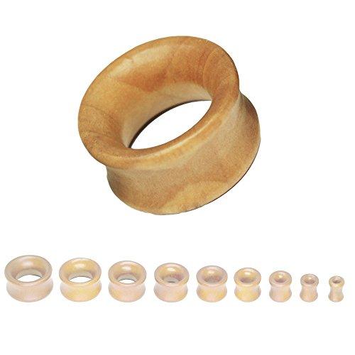 SoulCats® 8-22mm Plug Holz Flesh Tunnel Tube Holzplug Double Flared braun schwarz beige, Größe:8 mm;Farbe:beige