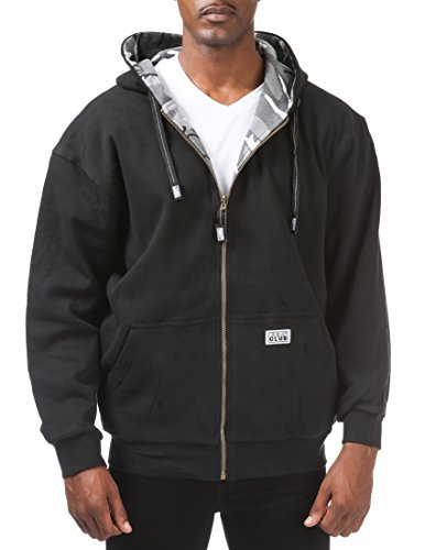 Pro Club Men's Full Zip Reversible Fleece and Thermal Hoodie, Medium, Black/City Camo