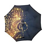 SUSINO Glowing Music Note Reverse Inverted Umbrella - Large Double Layer with Graphic Pattern Printed - UV Protection - Upside Down Car Umbrella - C-Shaped Handle for Women Men