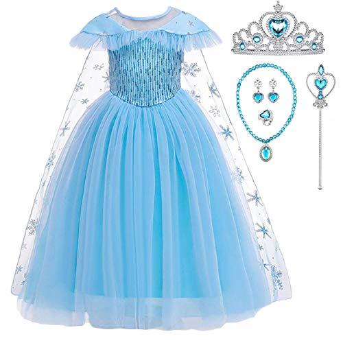 YOGLY Disfraz de princesa Elsa de Frozen para nia, vestido loco, disfraz de fiesta con tiara y varita mgica Vestido azul y accesorios azules. 38 W/30 L