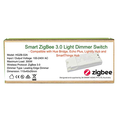 Smart ZigBee Licht-Dimmer für Echo Plus, ZigBee Bridge, SmartThings Hub, Lightify ZigBee Hub zur Steuerung von normalen Lichtern, LED Downlights Smart Home Automatisierung
