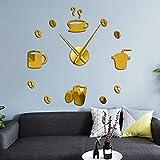 Lrenkey DIY Reloj De Pared - Cafetería Decorativa 3D Wall Clock Kitchen Decor Cafe Hot Beverage Shop Coffee Beans Wall Beans Wall Decor DIY Super Big Wall Clock Mirror Sticker,Gold,37 Inch