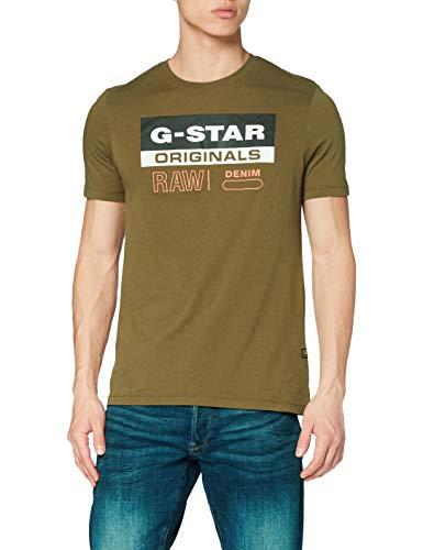G-STAR RAW Originals Label Logo Slim Camiseta, Wild Olive 336/1866, L para Hombre